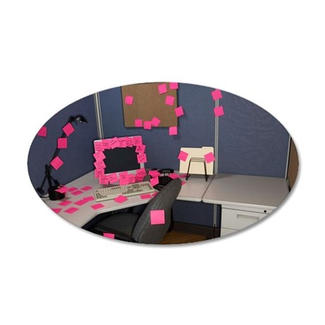 Office covered with sticky n 35x21 Oval Wall Decal