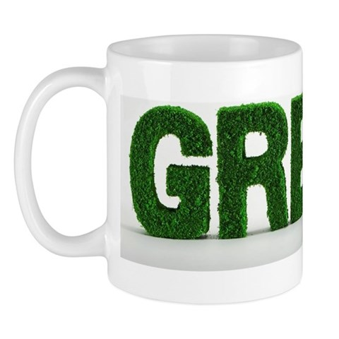 The word Green made from grass covered Mug