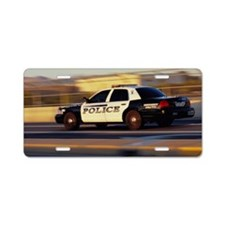 Police Car, Side View, Grai Aluminum License Plate