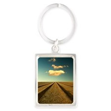 Ploughed field with blue sky and Portrait Keychain