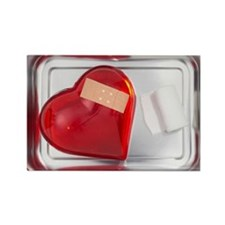 still life of red heart covered w Rectangle Magnet