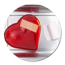 still life of red heart covered w Round Car Magnet