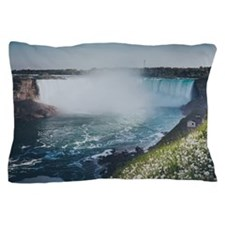 Niagara falls with flower and dandelio Pillow Case