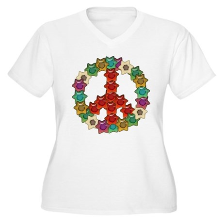 Groovy Floral Peace Sign Women's Plus Size V-Neck