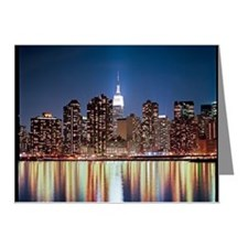Reflection of skyline at nig Note Cards (Pk of 20)