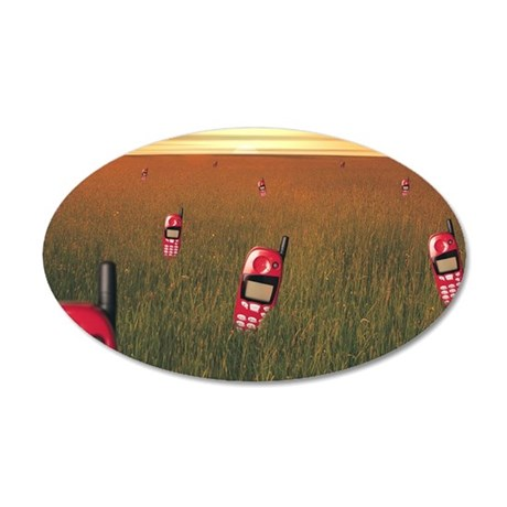 Field with cell phones 35x21 Oval Wall Decal
