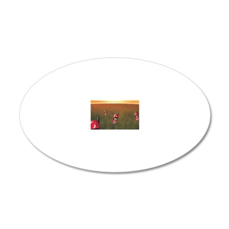 Field with cell phones 20x12 Oval Wall Decal