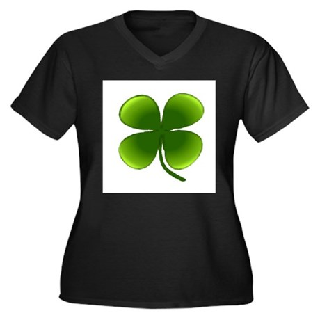 Shamrock Women's Plus Size V-Neck Dark T-Shirt