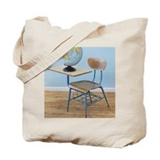 Globe and school desk Tote Bag