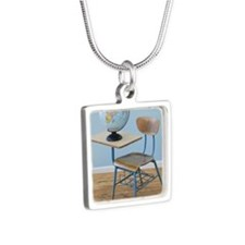 Globe and school desk Silver Square Necklace