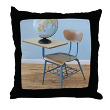 Globe and school desk Throw Pillow
