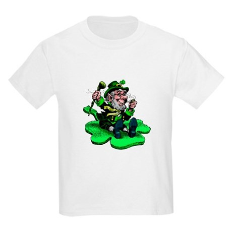 Leprechaun on Shamrock Kids Light T-Shirt