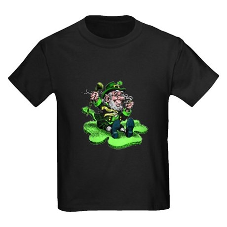 Leprechaun on Shamrock Kids Dark T-Shirt