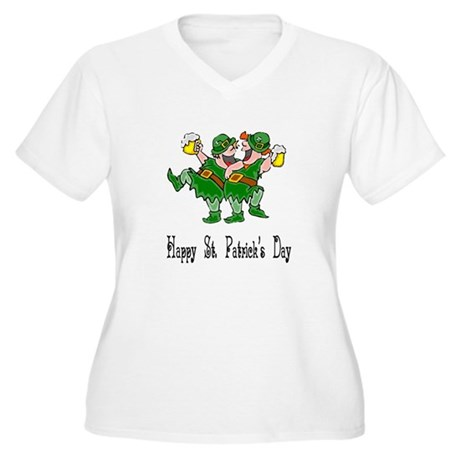 Leprechaun Dance Women's Plus Size V-Neck T-Shirt