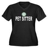 Pet Sitter Green Stripes Women's Plus Size V-Neck
