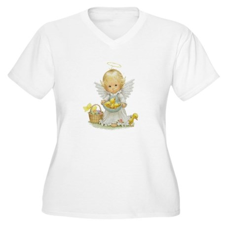 Easter Angel Women's Plus Size V-Neck T-Shirt
