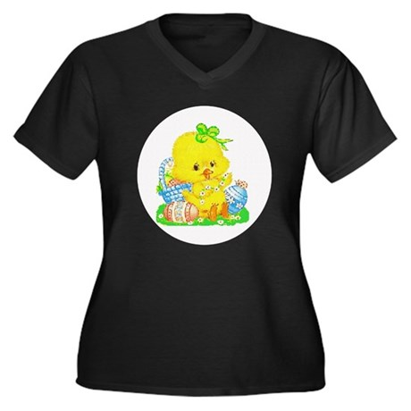 Easter Duckling Women's Plus Size V-Neck Dark T-Sh