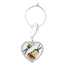 Hand Bells Heart Wine Charm