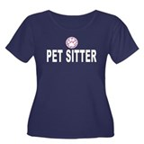 Pet Sitter Pink Stripes Women's Plus Size Scoop Ne