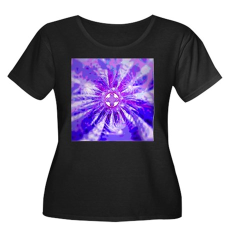 Blue Fractal 002 Women's Plus Size Scoop Neck Dark