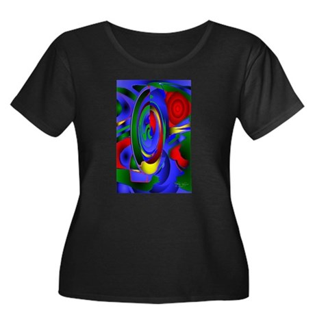 Abstract 001a Women's Plus Size Scoop Neck Dark T-