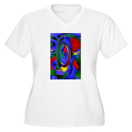 Abstract 001a Women's Plus Size V-Neck T-Shirt