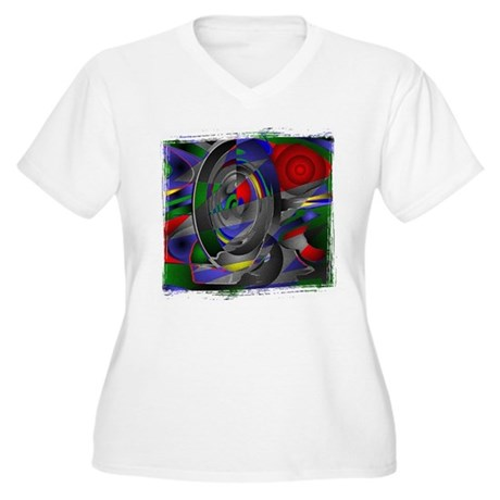 Abstract 002a Women's Plus Size V-Neck T-Shirt