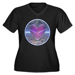 Psychedelic Heart Women's Plus Size V-Neck Dark T-