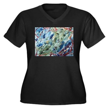 Untitled Abstract Women's Plus Size V-Neck Dark T-