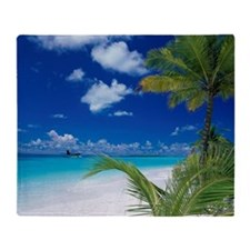 Close-up of palm trees on the beach, Throw Blanket