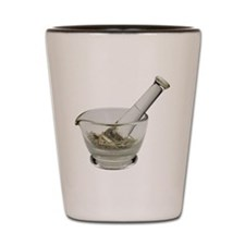 Mortar and pestle with herbs Shot Glass