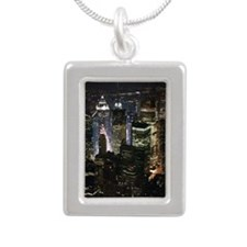 Time square at night Silver Portrait Necklace