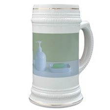 Toothbrushes and soap Stein