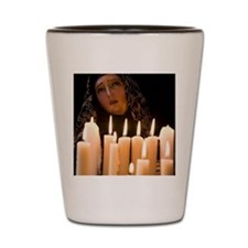 Candles and statue of Our Lady of Lourd Shot Glass