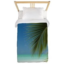 Palm fronds and a tropical beach Twin Duvet