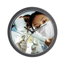 Below View of Male and Female Dentists  Wall Clock