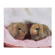Closed Up Image of Two Lop Ear Rabbi Throw Blanket