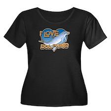I Love Dolphins Plus Size Scoop Neck Dark T-Shirt