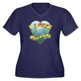 I Love Manatees Women's Plus Size V-Neck Dark Tee