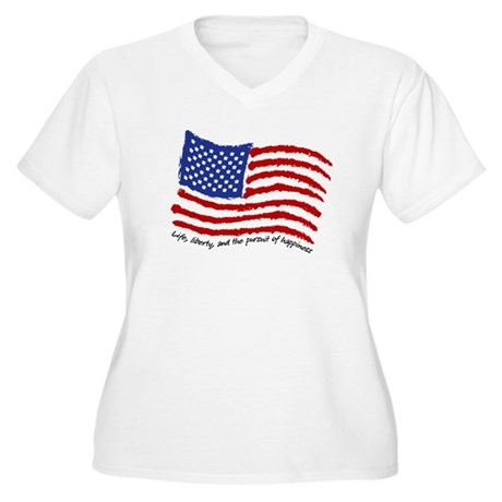 Life, Liberty Women's Plus Size V-Neck T-Shirt