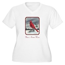 Red Northern Cardinal Bird Personalize Plus Size T