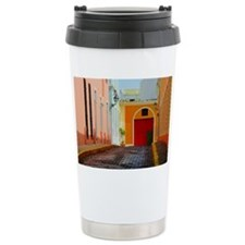 Buildings along a stree Travel Mug