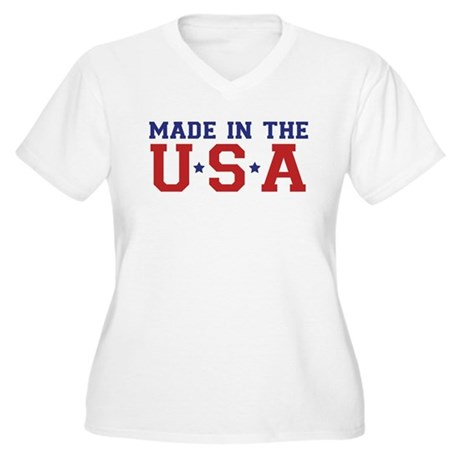 MADE IN THE USA Women's Plus Size V-Neck T-Shirt