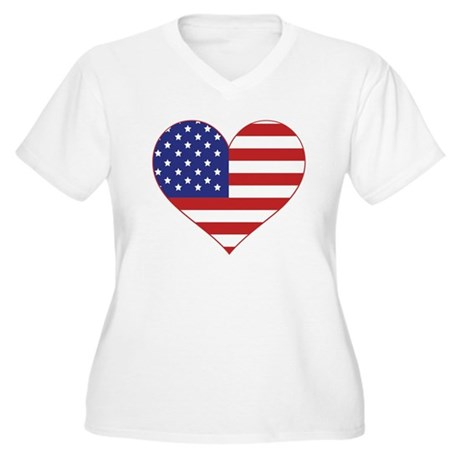 Stars & Stripes Heart Women's Plus Size V-Neck T-S