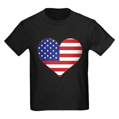 Stars & Stripes Heart Kids Dark T-Shirt