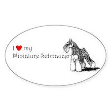 Love My Mini-Schnauzer Oval Decal