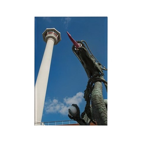 busan tower and statue of dragon Rectangle Magnet