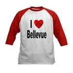 I Love Bellevue (Front) Kids Baseball Jersey