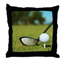 Side view of driver and golf ball on  Throw Pillow