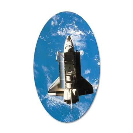 Space shuttle orbiting above 35x21 Oval Wall Decal